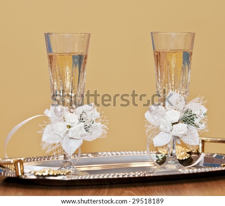 Glasses with a champagne