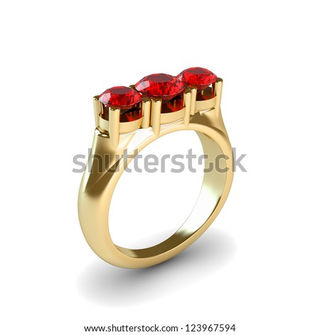 Wedding gold ring isolated on white background - stock photo