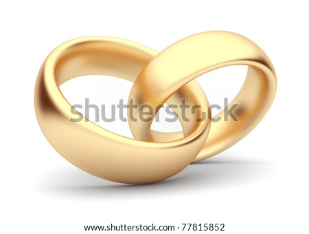 Wedding gold rings 3d. Isolated