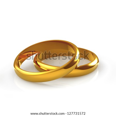 wedding gold rings on white background