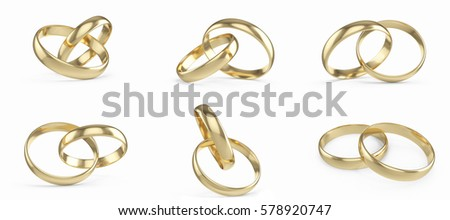 Wedding gold rings set, collection isolated on white background, 3d rendering