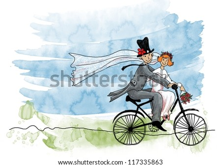 Wedding greeting card. Groom and bride on a bicycle