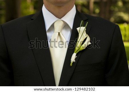 Wedding groom with corsage and tie