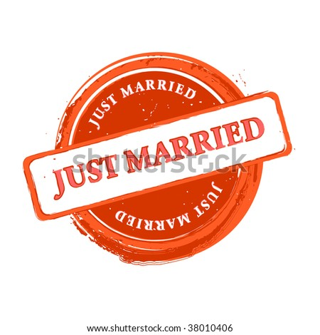 Wedding grungy stamp just married isolated over white - stock photo
