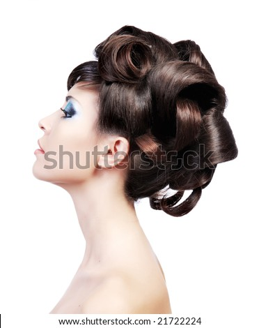 stock photo : Wedding hairstyle. Profile portrait of a cute model with