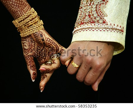 wedding hands - stock photo