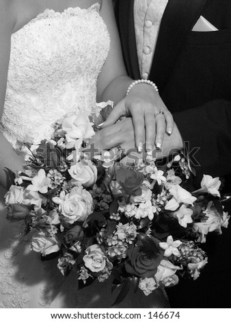stock photo wedding hands black and white