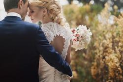 Wedding in Tivoli near Rome happy couple holding hands