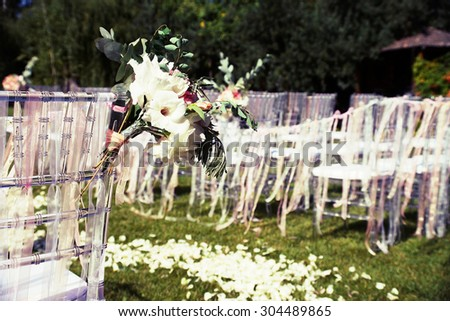 Wedding interior and exterior elements with photo post-processing