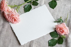 Wedding invitation and greeting card mockup,jpg,Card mockup with roses