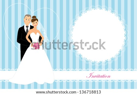Wedding invitation as bride and groom brunette dark and gray hair brown and blue eyes  on blue striped background with openwork and lace