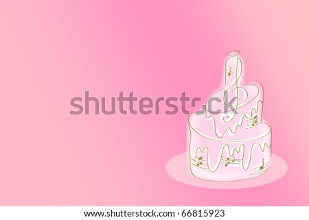 wedding invitation - cake in the style of music, illustration with space for text over pink background