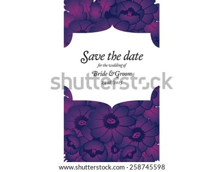Wedding invitation card with purple flowers
