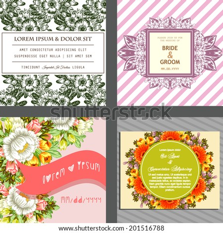Wedding invitation cards with floral elements. #201516788