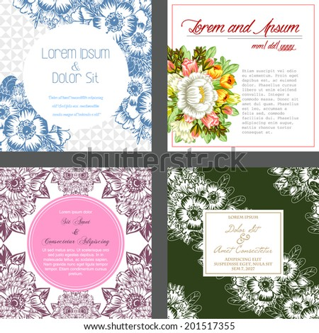 Wedding invitation cards with floral elements. #201517355