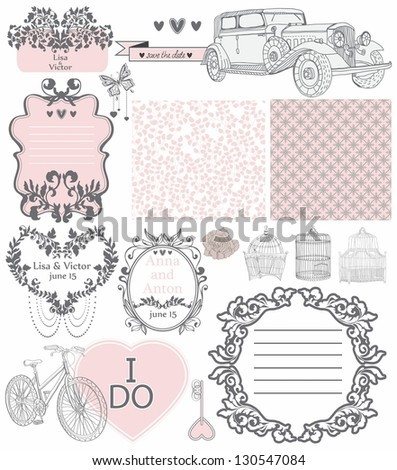 Wedding invitation collection of vintage elements - may be used for design, scrapbook or Valentine design