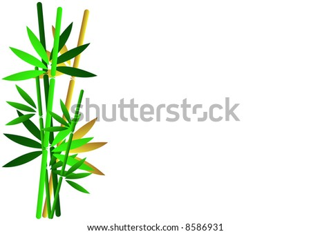 stock photo wedding invitation gold and green bamboo plants