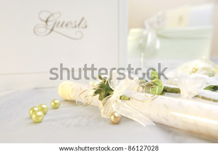 stock photo Wedding invitation in decorated test tube