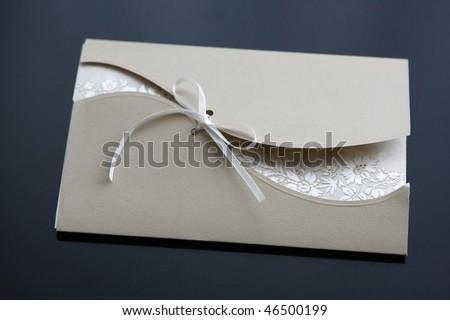 wedding invitation isolated on black