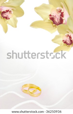 wedding invitation or greeting card blank with orchids and golden rings