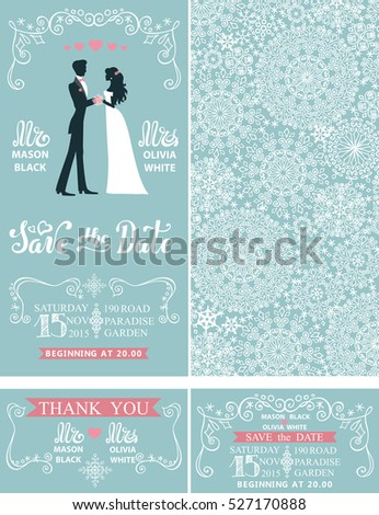 Wedding invitation set.Winter season,snowflakes lace pattern, border,frames,Bride,groom couple in retro design.Christmas save the date,thank you card.Holiday illustration,ornaments