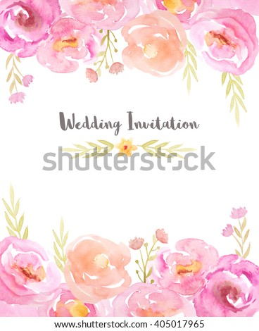 Wedding invitation template with hand painted watercolor flowers and branches in pink and yellow colors. Decorative floral background perfect for card making, wedding invitation and DIY project
