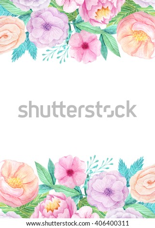 Wedding invitation template with hand painted watercolor flowers and ...