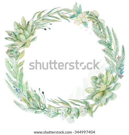 Wedding invitation. Wreath. Succulents and eucalyptus.Greeting card.