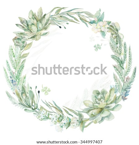 Wedding invitation. Wreath. Succulents and eucalyptus.Greeting card.