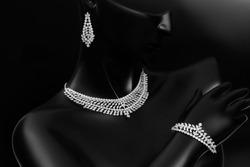 Wedding jewellery, engagement jewellery, jewellery set, anniversary jewellery on black background