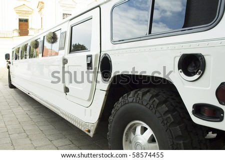 wedding limousine waiting for newlywed