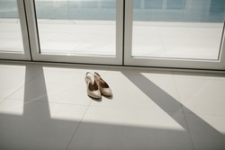 Wedding, luxury bridal shoes, background - white