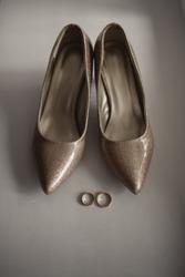 Wedding, luxury bridal shoes with diamonds