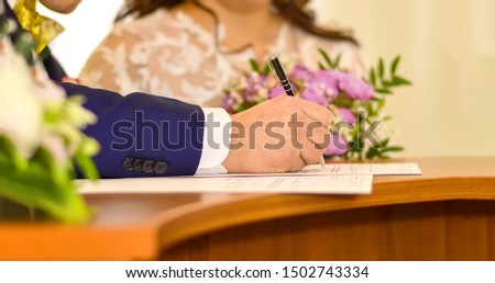 Wedding. Marriage certificate painting. Divorce. Signature of documents. #1502743334
