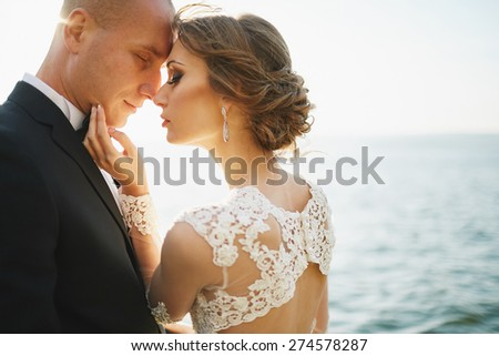 wedding of lovers at the mountains near the sea