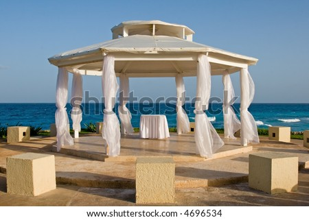 Wedding on a beach in a tropical paradise at a resort hotel in cancun mexico