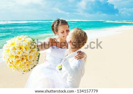wedding on beach (focus on eyes of bride)