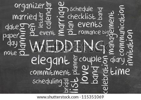 wedding on blackboard - word cloud