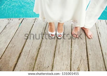 Wedding on the beach (foot closeup)