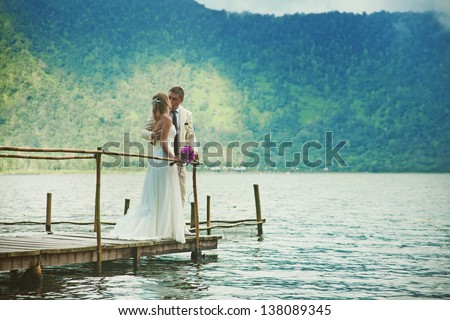 wedding on the lake - stock photo
