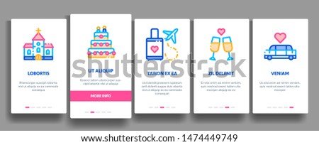Wedding Onboarding Mobile App Page Screen. Characters Bride And Groom, Rings And Limousine Wedding Elements Linear Pictograms. Church And Arch, Fireworks And Dancing Illustrations