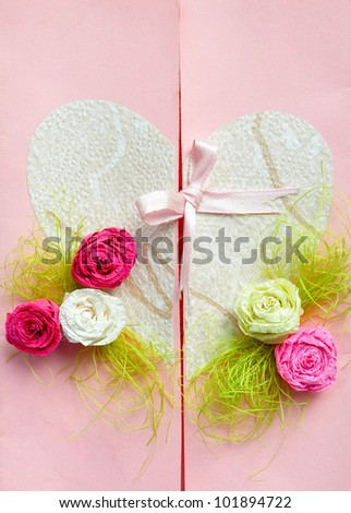Wedding or valentine paper card gift with love heart, flowers roses and a bow. Handmade.