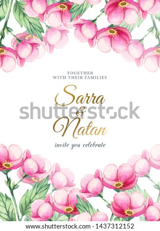 Wedding ornament concept. Floral poster, invite. Decorative greeting card or invitation design background