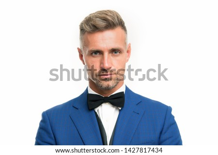 Wedding outfit. Gentleman modern style barber. Barber shop concept. Beard and mustache. Guy well groomed handsome bearded macho wear blue tuxedo. Barber shop offer range of packages for groom. ストックフォト ©