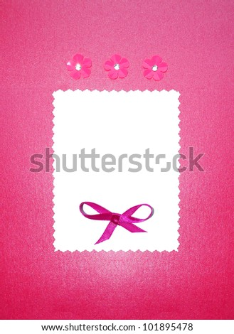 Wedding paper card invitation or photo frame border with bow and flowers. Empty for your text. pink and white