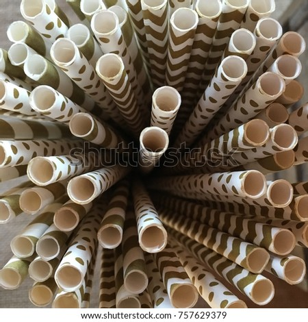Wedding paper straws with polka dots and chevron.  #757629379