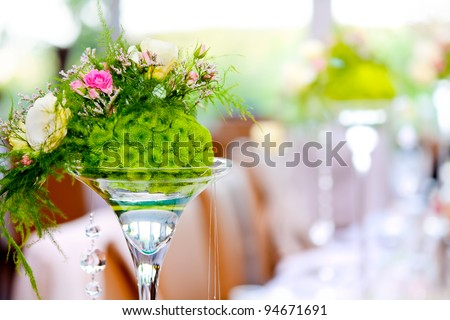wedding party decoration - colorful flowers and defocused pastel background