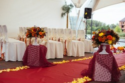 Wedding path and decorations for newlyweds.