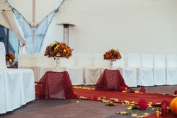 Wedding path and decorations for newlyweds. Autumn wedding concept.