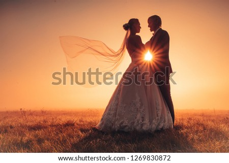 Wedding photo, bride and groom in autumn nature #1269830872
